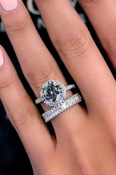 engagement ring trends round cut diamond pave bands bridal set