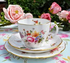 Royal Crown Derby Posies Teacup Trio