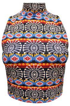 Sleeveless Aztec Crop Top
