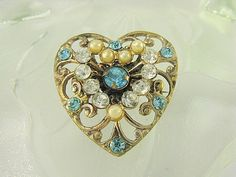#Vintage brass pin scroll openwork heart design dimensional brooch or pendant…