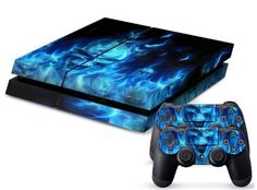 PS4 Designer Skin for Sony Playstation 4 Console System Plus Two(2) Decals For: PS4 Dualshock Controller - Skull of Blue Fire (509016567526) Highest Quality, Full Color, Anti-Slip Grip-Like Vinyl Sticker. Will not Scratch, Fade (UV Resistant) or Peel. Easy Install & Removal. No Sticky Mess Guaranteed. Fits Sony PlayStation 4 Next-Gen Console & Two(2) Dualshock Controllers. Precision Cut, Easy Access for Buttons, Controls, & Connectors.