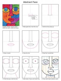 ⚜️Ana Rosa⚜️ Ana Rosa Draw an Abstract Face · Art Projects for Kids ⚜️Ana Rosa⚜️ Ana Rosa - Abstract Art For Kids, Abstract Face Art, Abstract Drawings, Easy Drawings, Amazing Drawings, Abstract Portrait, Project Abstract, Portrait Paintings, Projects For Kids