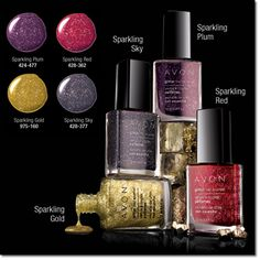 Glitter Nail Polish - Make your nails sparkle with new Glitter Nail Polish by Avon. Available in Sparkling Sky, Sparkling Plum, Sparkling Red, and Sparkling Gold, you can wear these colors alone or with your favorite Nailwear Pro+ Nail Enamel or Speed Dry color. Buy Avon Glitter Nail Polish online at http://eseagren.avonrepresentative.com/