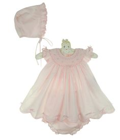 """<img src=""""http://site.grammies-attic.com/images/blue-sold-1.gif""""> NEW Sarah Louise Pink Smocked Dress with Bows and Pink Flowers and Matching Bonnet $70.00"""
