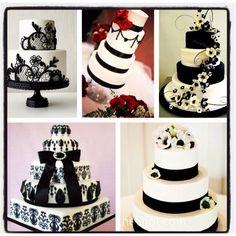 #black and #white #wedding #cakes