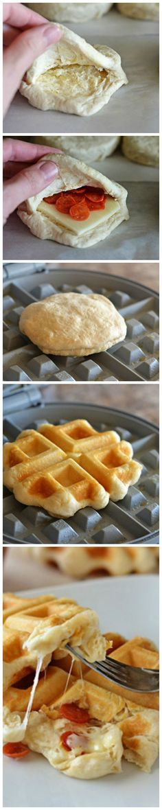 Pizza Waffles How-To.would make a good camping recipe ~ Pillsbury® Grand® Flaky Layers Biscuits are transformed into pizza waffles! Mini golden waffles stuffed with melty cheese and pepperoni. These will be a hit with everyone! Only 4 ingredients! I Love Food, Good Food, Yummy Food, Waffle Iron Recipes, Food To Make, Delish, Food Porn, Food And Drink, Cooking Recipes