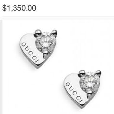 M_590bb9e87f0a058db5014bc6 Diamond Studs, Diamond Earrings, Heart Of Gold, 18k Gold, Buy And Sell, Gucci, White Gold, Butterfly, Accessories