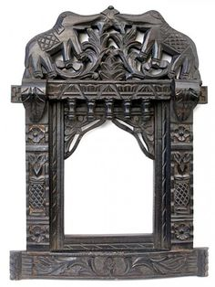 Elephant Design Ornate Wooden Mirror | Bringing It All Back Home