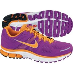 orange and purple running shoes