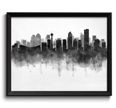 Calgary Skyline Alberta Canada Cityscape Art Print Poster Black White Grey Watercolor Painting by CityPrintsYourWay on Etsy https://www.etsy.com/ca/listing/259015797/calgary-skyline-alberta-canada-cityscape