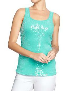 Probably my favorite color in these, even more than the pink.  Best part, paid $7.  Women's Sequined Tanks | Old Navy