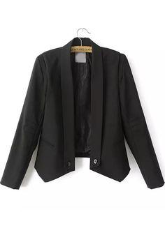 Black Lapel Long Sleeve Pockets Crop Blazer - Sheinside.com