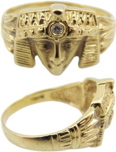 18K gold Egyptian motif ring with diamond accent. #shopgoodwill #auction