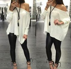 Women Long Sleeve Off Shoulder Cotton T Shirt Blouse Casual Loose Tops Cotton Look Fashion, Fashion Outfits, Womens Fashion, Looks Style, My Style, Fall Outfits, Cute Outfits, Sexy Casual Outfits, Loose Tops