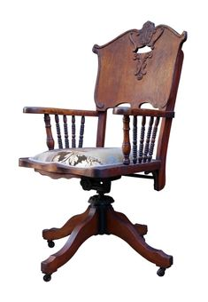 Discreet Vintage Wood Banker Chair Antique Office Industrial Wooden Arm Lawyer Desk Oak In Many Styles Chairs