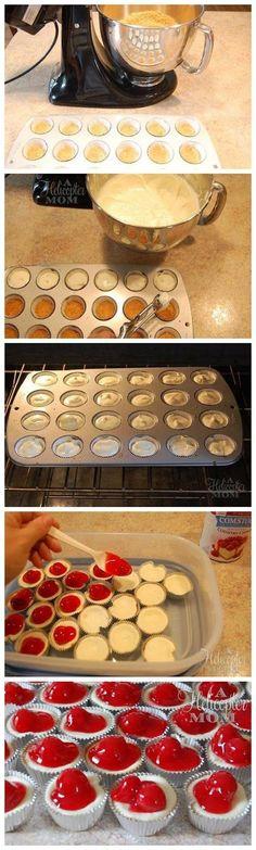 Super Fácil Mini cereja do bolo de queijo Mordidas Recipe.These fácil mini-guloseimas cheesecake de cereja são tão deliciosa e tão simples de fazer! by soniamaria