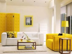 Beautiful Yellow Living Room Furniture listed in: Painting Living Room Colors Living Room Design Ideas case as well as pink living room case Colorful Interior Design, Yellow Interior, Interior House Colors, Home Interior Design, Interior Paint, Interior Designing, Contemporary Interior, Modern Art, Contemporary Rugs