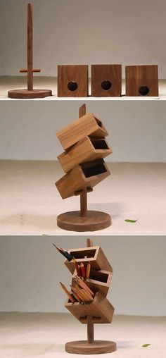 Ted's Woodworking Plans - 3 Tier Wooden Office Desk Organizer Get A Lifetime Of Project Ideas & Inspiration! Step By Step Woodworking Plans Into The Woods, Desk Organization Diy, Diy Desk, Organizing Ideas, Cool Woodworking Projects, Woodworking Bench, Woodworking Store, Woodworking Machinery, Popular Woodworking