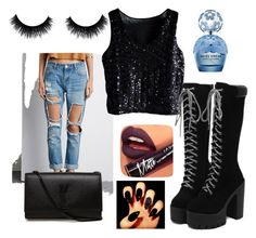 """Blvk"" by madamerasta on Polyvore featuring Forever 21, Yves Saint Laurent, Marc Jacobs and Fiebiger"