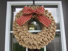 Burlap bubble wreath with white red or black by willowbloomwreaths