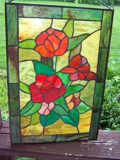"""11"""" x 16"""" Leaded Art Glass Stain Glass Hanging Panel Red Flowers 