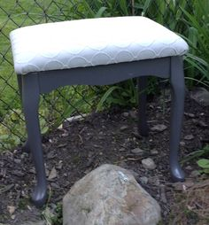 Up cycled bench in two tone grey