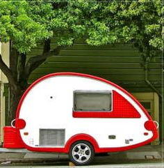 While not vintage, this TAB trailer is so cute and based on the vintage teardrop design, I couldn't resist. by jodie Tiny Trailers, Small Trailer, Camper Trailers, Rv Campers, Happy Campers, Tab Trailer, Teardrop Trailer, Teardrop Campers, Teardrop Caravan