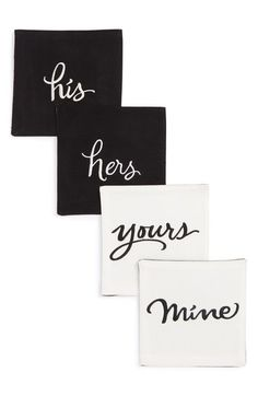 kate spade new york 'his, hers, mine, yours' napkins (Set of 4) available at…