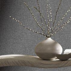 Linen Charcoal Wallpaper
