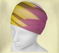 Headband - Pages - Wee Dog - Yoga headband - Pilates headband - Microknit - Quick dry - Ecopoly - Pink - Yellow - Performance Fabric by WeeDogWearableArt on Etsy