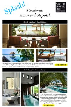 The ultimate summer hotspots! Find the most beautiful hotels for your summer break! Beautiful Hotels, Most Beautiful, Maldives Resort, One And Only, Villa, Ocean, World, Outdoor Decor, Summer