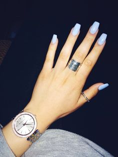 10 Top nail polish colors for spring - Page 9 of 11 - Stunning Lifestyles Blue Acrylic Nails, Acrylic Nail Designs, Acrylic Spring Nails, Square Acrylic Nails, Acrylic Nail Shapes, Hair And Nails, My Nails, Light Purple Nails, Periwinkle Nails