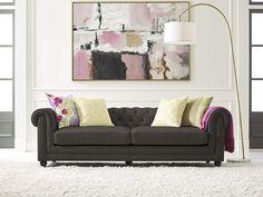 Tufted Sofa Velvet, Gunmetal