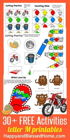 "30+ FREE Preschool Activities and over 60 printables for letter ""M"" from the Learn to Read Preschool Alphabet Letters series on HappyandBlessedHome.com"