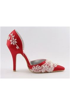 Red Upper High Heel Pumps With Stitching Lace Wedding Bridal Shoes
