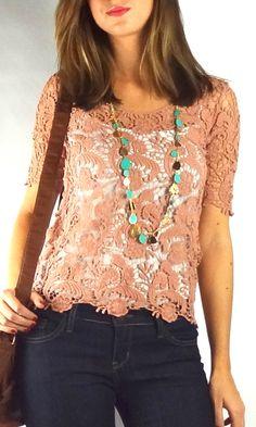 Crochet Lace Top - Pink   .H.C.B.