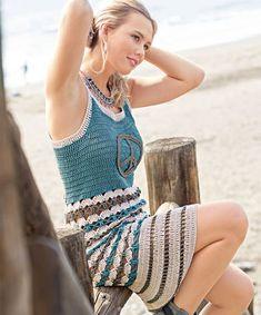 Crochet - Vestido (Crochet e moda) Black Crochet Dress, Crochet Skirts, Crochet Tunic, Crochet Clothes, Crochet Lace, Free Crochet, Blog Crochet, Crochet Mermaid, Crochet Summer