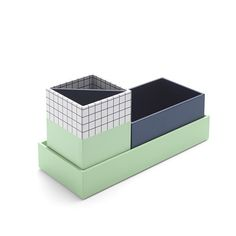 Paperboard Navy + Mint Checka Nesting Desk Set,Navy