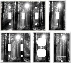 Light Switch Cover Plate ~ Black & White Dappled Sunlight Forest Landscape #Leviton