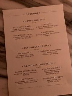 Soho House December Cocktail Menu, Knob Creek Rye in Seasonal Features! Casa Soho, Ginger Syrup, Cocktail Menu, Soho House, Drink Menu, Cocktails, Drinks, Menu Design, Lime