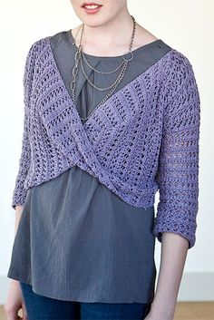 Free Knitting Pattern for Cloud Bolero - Knit with a 7 row 2 stitch reversible Roman Stripe lace stitch, this pullover is created with 2 pieces and a twist in front. Designed by Norah Gaughan for Berroco. Sizes S, M, L. DK weight yarn