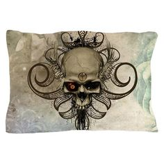 Amazing skull with wings and grunge Pillow Case by nicky - CafePress