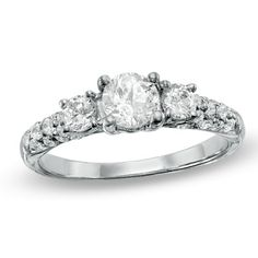 1.00 CT. T.W. Diamond Three Stone Engagement Ring in 10K White Gold  - Peoples Jewellers