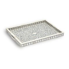 This Grey & Bone Inlay Tray is simply excellent and ultimate for serving food or drinks or as an elegant decorative piece that could sit anywhere in your home. This is perfect to sit on your coffee table or kitchen bench or even use it in your bedroom to display your special pieces of ornaments or some amazing candles. This piece is handmade although it is all part of the beauty. http://www.sanchiandfiliapdesignsllc.com/