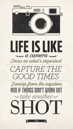 Life Is Like A Camera, Vintage Sign, Inspirational Quote Poster, Encouraging…