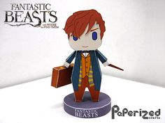 """This paper toy is a chibi Newton Artemis Fido """"Newt"""" Scamander, a famed Magizoologist and author of Fantastic Beasts and Where to Find Them, which is a 201 Harry Potter Diy, Harry Potter Hogwarts, Papercraft Harry Potter, Paper Art, Paper Crafts, Harry Potter Printables, Lego, Fantastic Beasts And Where, Magical Creatures"""