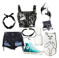 """""""#16"""" by teh-random-fangirl ❤ liked on Polyvore featuring Alexander Wang, Converse, New Look and Essie"""