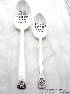BIG Spoon and Little Spoon Since. CUSTOM Hand Stamped Spoons Personalized with YEAR. Anniversary Gift. Original Design by Kelly Galanos