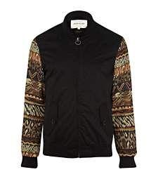 Black tapestry sleeve bomber jacket £50.00