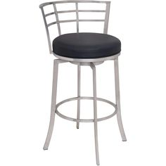 "Armen Living Viper 30"" Bar Height Swivel Barstool in Brushed Stainless Steel finish with Black Pu"